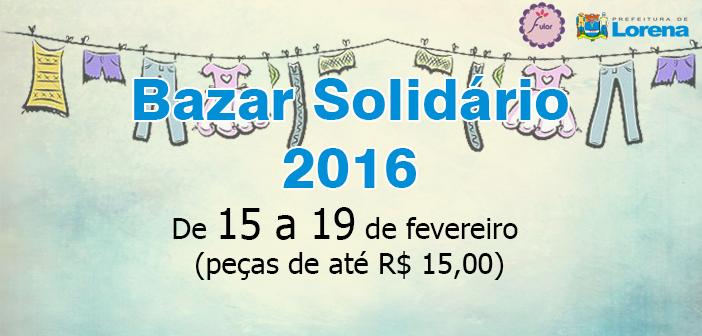 1º Bazar Solidário de 2016 terá peças entre R$ 5 e R$15