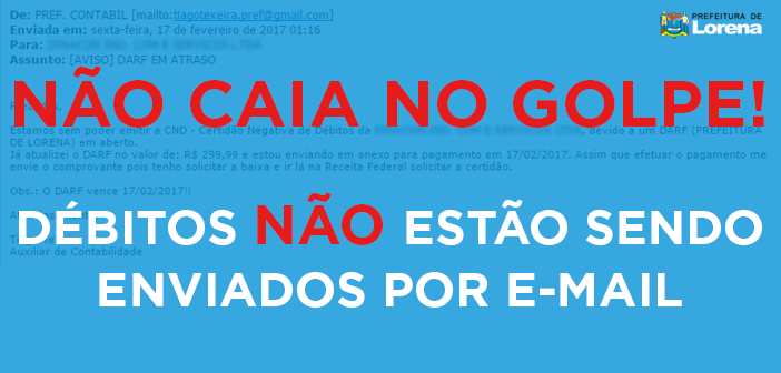 Prefeitura de Lorena alerta para golpe do boleto falso de débitos municipais
