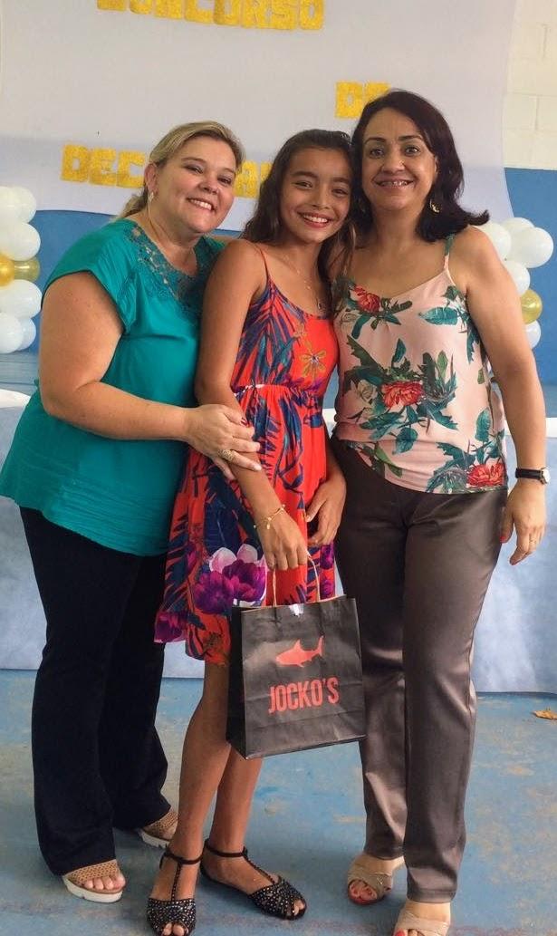 aluna classificada, Gestora Luiza e Professora Denise