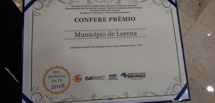 Governo de SP concede prêmio a Lorena pela cobertura de teste de HIV realizado para os casos de Tuberculose no ano de  2017