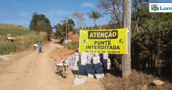 Prefeitura informa interdição total da ponte sobre o Rio Taboão, no bairro Santa Lucrécia, nos dias 06, 07 e 08, para obras