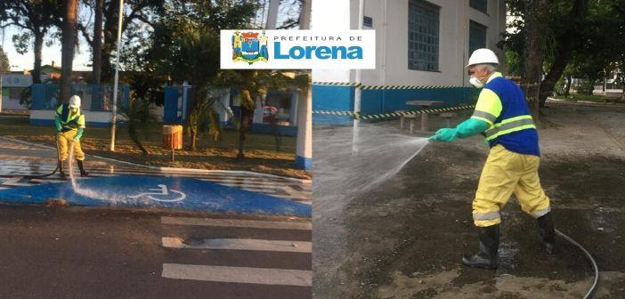 A Prefeitura de Lorena em parceria com a Sabesp realiza higienização de locais públicos como forma de prevenção ao Covid-19