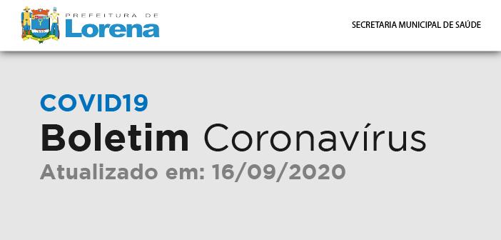 BOLETIM CORONAVÍRUS 16 DE SETEMBRO