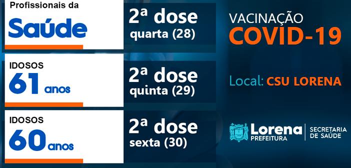 Vacinação da 2ª dose para pessoas de 60 e 61 anos e Profissionais da Saúde